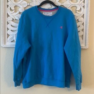 Champion Blue Sweatshirt Pink Logo